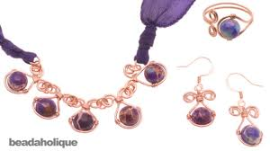 gemstone necklace sets images How to make a wire wrapped gemstone jewelry set jpg