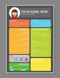 graphic designer resume template colourfull graphic designer resume template free vector