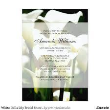 white calla lily bridal shower invitations calla lilies shower