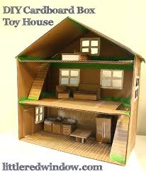 Plans To Build A Toy Box by Diy Cardboard Box Toy House Little Red Window