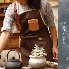 Personalized Kitchen Aprons M L Size Leather Strap Cotton Denim Apron For Barber Chef Man