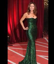 gaynor faye wears a figure skimming sequin green dress the best