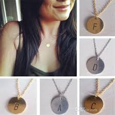 silver coin necklace pendants images Europe style silver gold plated necklaces letter a to p round jpg