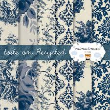 toile de jouy classic blue on a recycled background french