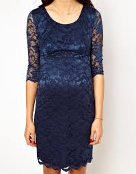asos new look maternity lace bodyconscious dress in blue lyst