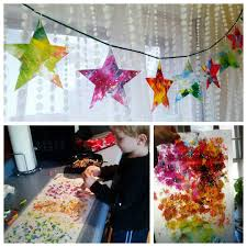 kids christmas diy paper star ornament craft uses crayons u0026 wax