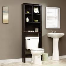 black wooden bathroom cabinet with racks over white acrylic