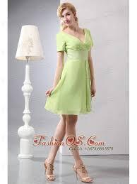 pretty yellow green short prom dress empire v neck mini length