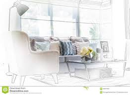 sketch design of modern living room with modern chair and sofa