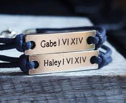 his and hers engraved bracelets couples name bracelets numeral bracelets personalized
