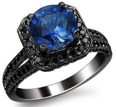 black gold sapphire engagement rings 2 10ct blue sapphire black engagement ring 14k black gold