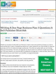 writing a one page business plan 5 questions a self publisher