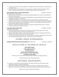 resume exles objective general english by rangers schedule national park ranger resume shalomhouse us