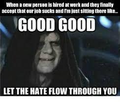 Let The Hate Flow Through You Meme - 25 best memes about good good let the hate flow through you
