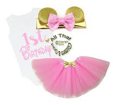baby minnie mouse 1st birthday pink and gold minnie mouse one year birthday tutu for baby