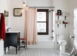 vinyl plank flooring bathroom eclectic with 3 6 subway tile black