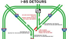 Atl Map I 85 Bridge Collapse In Atlanta Brings Headache To 250 000 Drivers