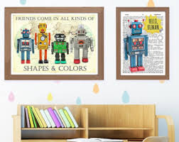 Prints For Kids Rooms by Robot Art Etsy