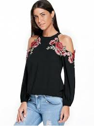 cold shoulder tops embroidery applique cold shoulder top black blouses m zaful