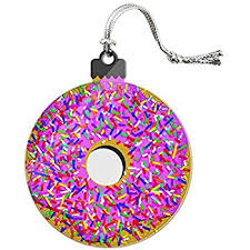 world frosted donut glass blown ornament