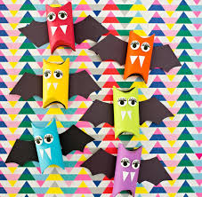 Bat Halloween Craft by Hello Wonderful Rainbow Paper Tube Bats Halloween Craft For Kids
