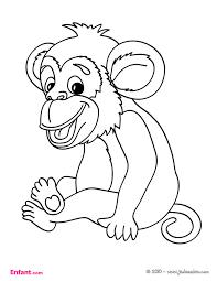 Coloriages pour fille Le singe