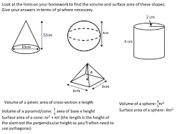 volume and surface area of spheres pyramids cones and frustrums