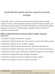 Job Interview Resume by Top8jobdescriptionqualityinspectorresumesamples 150723082004 Lva1 App6892 Thumbnail 4 Jpg Cb U003d1437639656