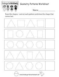 free printable geometry patterns worksheet for kindergarten