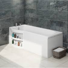 myspace water saving p shape shower bath left hand with storage