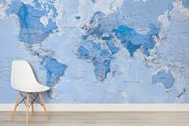 Political World Map World Map Wallpaper U0026 Atlas Wall Murals Murals Wallpaper