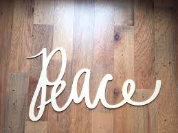 word art wood cutout peace small hand drawn typography christmas
