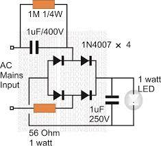 simplest 1 watt led driver circuit at 220v 110v mains voltage