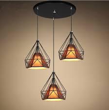 Living Room Pendant Lights Loft Industrial Creative Iron Black Diamond Shape Living Room