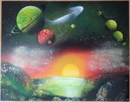 Spray Paint Universe Green Planet With Red Sunset Marczirin Com Spray Paint Art