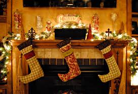 cheap stone fireplace with mantle and stocking holder stand for