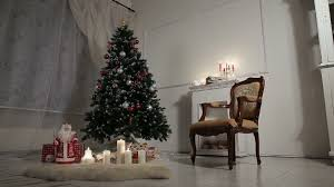 christmas living room decorated christmas tree and gift boxes in