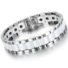 magnetic stone bracelet images Black white ceramic bracelet magnetic stone therapy health jpg