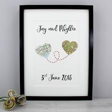 wedding gift keepsakes wedding anniversary custom map heart print six0six design