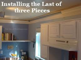 How To Cut Crown Moulding For Kitchen Cabinets Kitchen Crown Molding Installation The Last Piece Goes In The