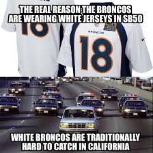 white bronco car the real reason the broncos are wearing white in sb50 denverbroncos