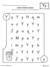 letter y pattern maze worksheet myteachingstation com