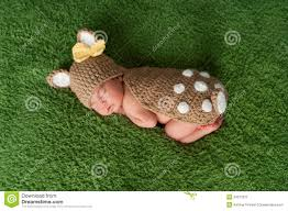 newborn baby in fawn deer costume stock image image 34013071