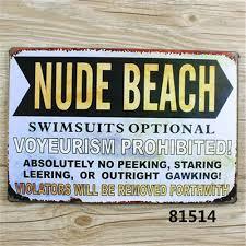 tin home decor nude beach art vintage metal tin signs bar pub cafe home decor retro