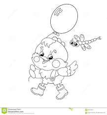 coloring page outline of a happy chicken walking with a balloon