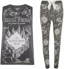 Harry Potter Marauders Map Ladies Harry Potter Pyjamas Primark Hogwarts Marauders Map Grey