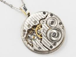 antique silver necklace pendant images Silver pocket watch necklace pinstriped and engraved pendant jpg
