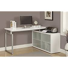 White L Shaped Desks Monarch Hollow L Shaped Desk With Frosted Glass