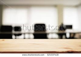 Office Desk Space Empty Wooden Desk Space Blurred Stock Photo 521337418