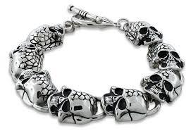 skull link bracelet images Stainless steel two face skull link bracelet for sale silver gif